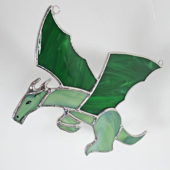 Green Dragon Stained Glass Suncatcher Or Christmas By Fivesparrows