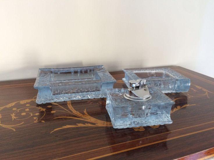 Vintage posacenere e accendino da tavolo in vetro / Antico set da scrivania / Vintage set da tavolo / Regalo per lui / Regalo fumatori di VintaFai su Etsy