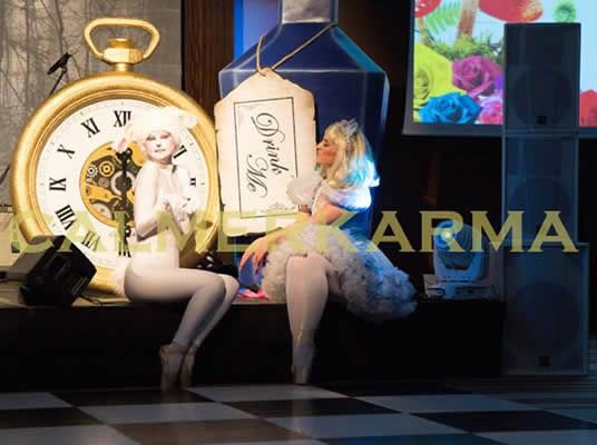 Alice through the looking glass themed entertainment to hire for corporate events, weddings and private parties. Tel:  020 3602 9540  ALICE IN WONDERLAND STAGED ENTERTAINMENT + SHOW - WHITE RABBIT & ALICE DANCERS UK