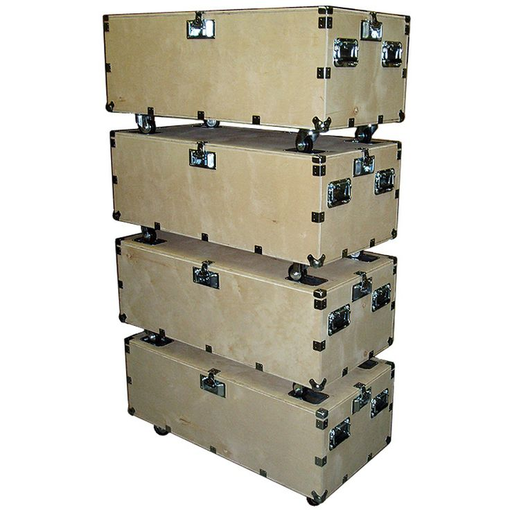 """48"""" Crate Style Trunk Cases - 1/2"""" Ply Heavy Duty w/Wheels - 4 Pc Stacking Set - USA Road Cases"""