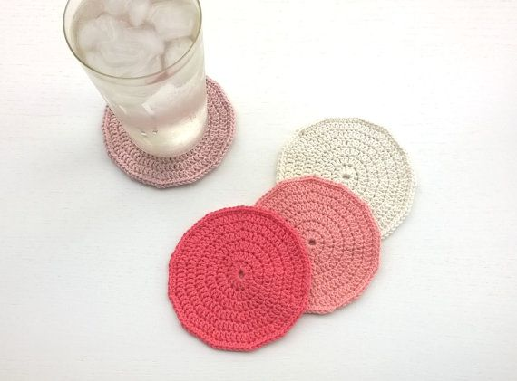 Coasters Crochet Coasters Drink Coasters by AGirlNamedMariaDK #coasters #coaster #crochet #crocheted #drink #drinks #beverage #tableware #drinkware #tablesetting #party #entertaining #glass #mug #cup #tea #coffee #dinner #table #guests #decorating #home #decor #summer #spring #red #coral #pink #rose #white #cream