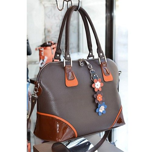 Geanta dama in combinatie de culori maro, orange, geanta din piele