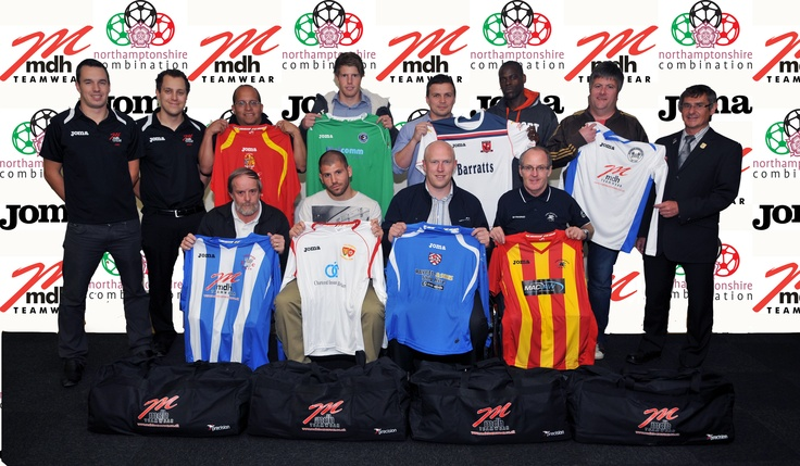 As part of our ongoing commitment to supporting local football and sponsorship of the MDH Teamwear Northants Combination League, we gave away 8 Joma Football Kits to 8 lucky teams on Tuesday Night at Harborough Town FC.    This photo shows all 8 winners with representatives from the league and from MDH Teamwear.    For individual shots of the teams receiving their kits, take a look at our Facebook page @ www.facebook.com/mdhteamwear
