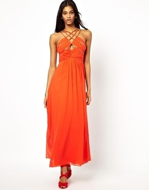 Little Mistress  Plus Size Embellished Cut Out Chiffon Maxi Dress - burntorange