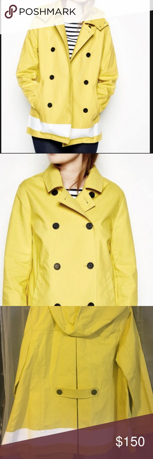 JACK WILLS yellow raincoat Never worn yellow raincoat with stripe detail and buttons; pleated back, removable hood and pockets Jack Wills Jackets & Coats Pea Coats