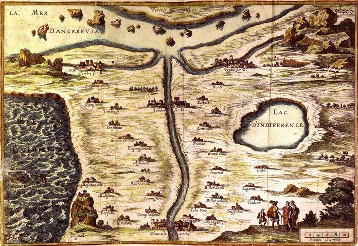 La carte de Tendre de Madeleine de Scudéry, une carte des sentiments amoureux créée au XVIIe siècle.