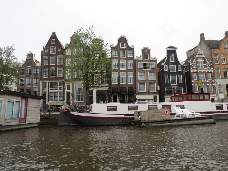 Views of pretty gabled buildings from the canal boat