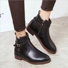 2016 nuevas de la llegada mujeres de moda británica hebilla de correa de tobillo mujeres Retro Martin botas zapatos caliente negro QD0017(China (Mainland))