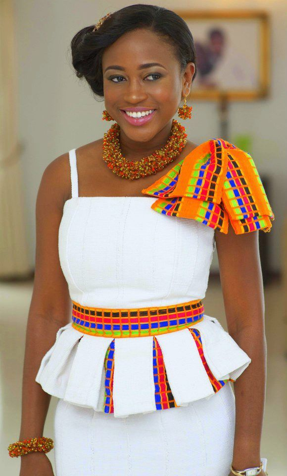 Kente on White with Statement jewerly..ready for that traditional wedding ceremony