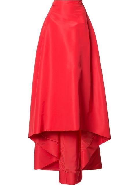 "Carolina Herrera's Red Silk'Faille' Bouffant  Skirt. I'm putting together the best kind of 50's Retro Look - Updated. I'll Anchor it with this A-Line Skirt with Asymmetric Hem. It's Ankle-Length in Front with a Sweep Train in Back. Put it with a Cropped Red & Black Jacquard Knit, Off-The-Shoulder ""Bardot"" Top. I've got a Gold Locket, Charm Bracelet, Drop Earrings and Ring. Wear Black Fitted Knee-Boots and Carry a Red ""Puzzle"" Bag (It's all on this board) Sexy always translates. - Gabrielle"