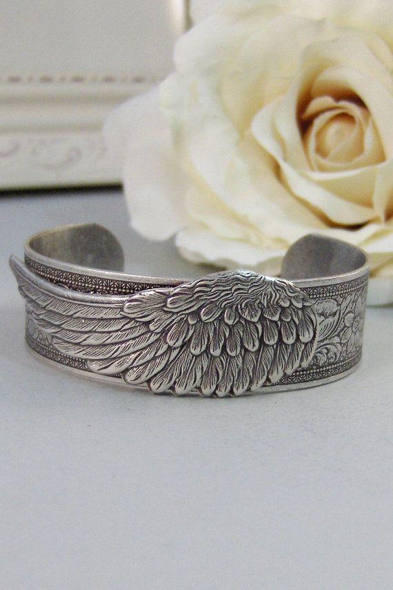 Angel Wing,Bracelet,Cuff,Silver Bracelet,Cuff Bracelet,Bracelet,Silver,Angel,Wing,Wedding,Bride.Handmade Jewelry by valleygirldesigns.