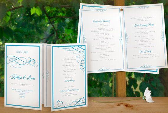 DiY Printable Wedding Program Booklet Template - DOWNLOAD Instantly - EDITABLE TEXT -Beloved (Malibu Blue) - Microsoft® Word Format