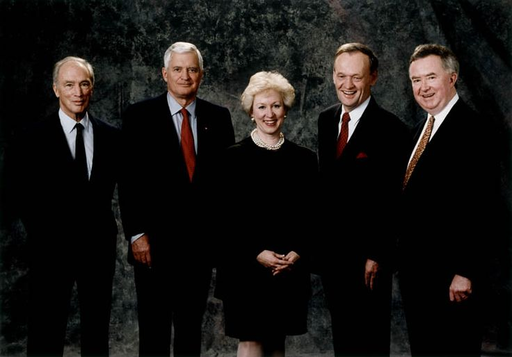 Kim Campbell, with Former Prime Ministers, Pierre Trudeau, John Turner, Jean Chrétien, Joe Clark
