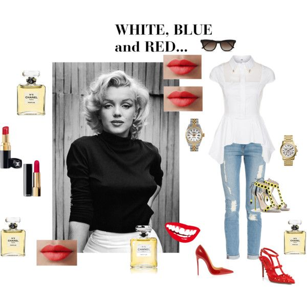 """WHITE ,BLUE and RED..."" by aija-seele on Polyvore"