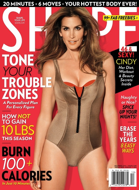 Cindy Crawford. Photo by Nino Muñoz for Shape, December 2012 issue.