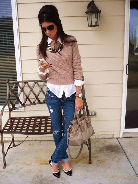 dark worn cuffed ankle jeans, long white button down shirt, camel sweater, black/white pointed flats, camel tote, necklace, sunglasses