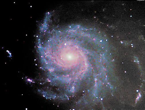 "Messier 101 - Pinwheel Galaxy (LRGB)  Technical card Imaging telescope: Skywatcher Explorer 200p Imaging camera: ATIK Titan mono Mount: HEQ5 Guiding telescope: SkyWatcher 50mm/162mm Finderscope Guiding camera: QHYCCD qhy-5 II Dates: 2015-04-15,  2015-04-19 Frames:  Baader Planetarium Blue: 5x300"" bin 1x1 Baader Planetarium Green: 5x300"" bin 1x1 Baader Planetarium IR Cut: 29x300"" bin 1x1 Baader Planetarium Red: 4x300"" bin 1x1"