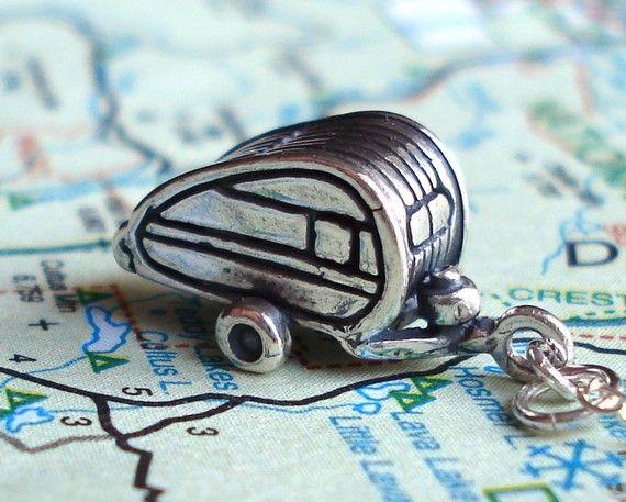 Little Teardrop Camper Sterling Silver Necklace: Guy, Teardrop Camper, Tear Drop