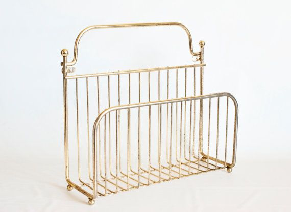 Mid Century Wire Wall Magazine Rack Wall Mount or by TheWildWorld