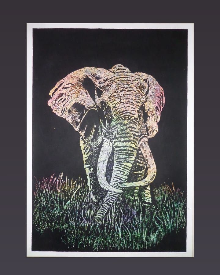 N U E V O C U A D R O Per Cuadros Painting Papercraft Pincel Art Safari Elephants Elefante Animals Colors Black Minimalis Minimalistic