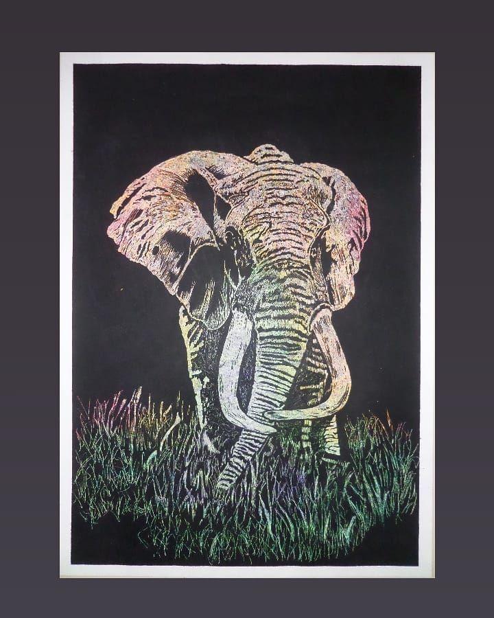 N U E V O C U A D R O Per Cuadros Painting Papercraft Pincel Art Safari Elephants Elefante Animals Colors Black Minimalis Minimalistic