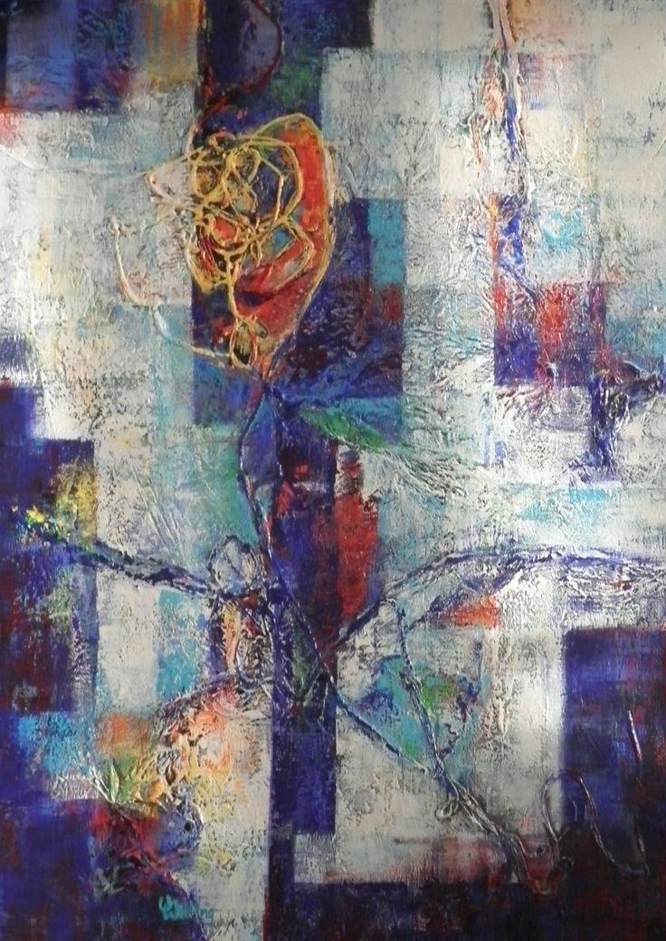 Roos, schilderij van Vera Wilting | Abstract | Modern | Kunst