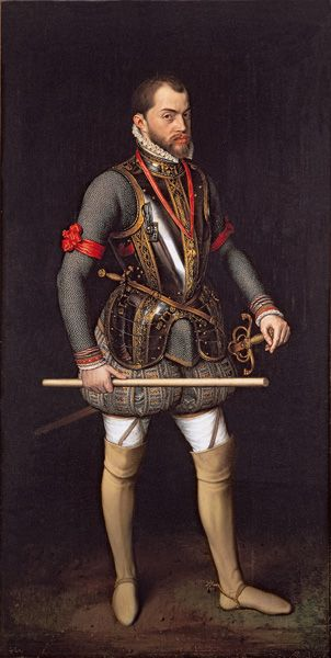 Portrait of King Phillip II of Spain in armour. By Antonis Mor, 1557.