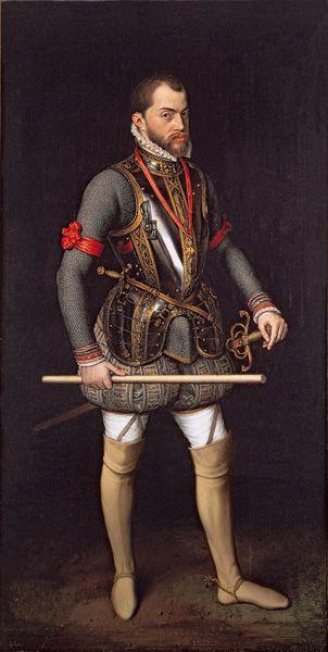 Portrait of King Phillip II of Spain in armour. By Antonis Mor, 1557.