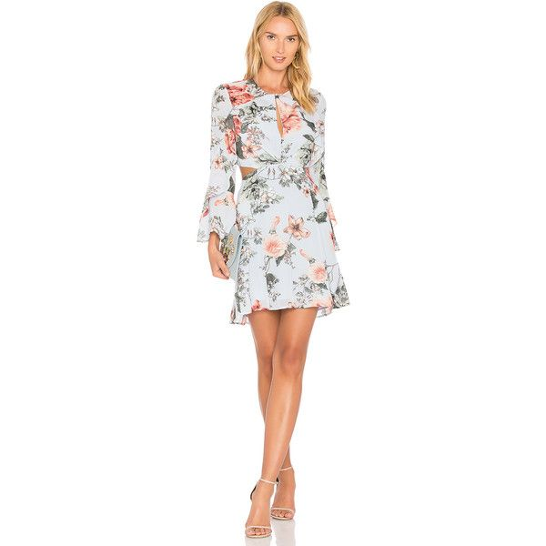Bardot Floral Frill Dress ($110) ❤ liked on Polyvore featuring dresses, flower print dress, floral printed dress, floral day dress, flutter-sleeve dress and side cutout dresses