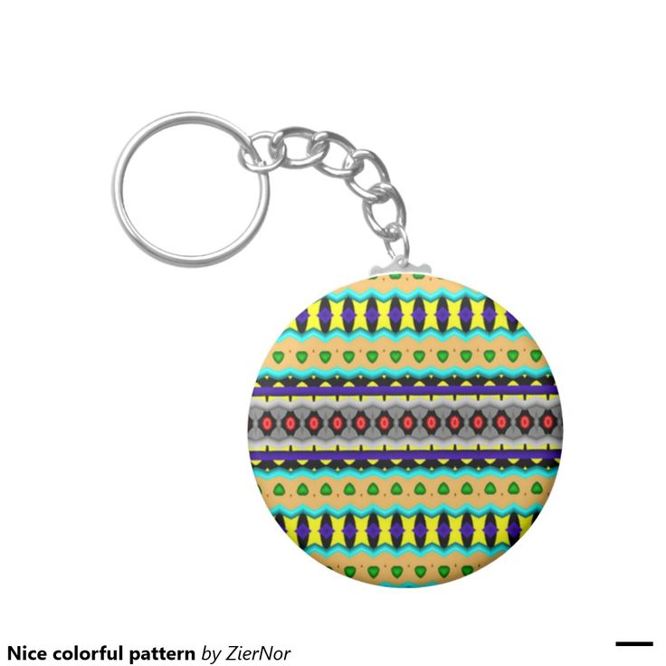 Nice colorful pattern basic round button keychain