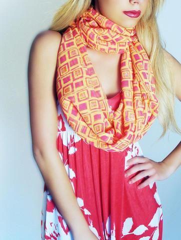 Melon Mosaic Infinity Scarf / Shawl  #sirenbylkc #lkccollection #scarf #dress #handmade #womens #fashion #infinity