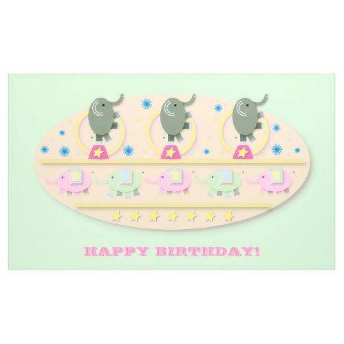 Playful Circus Elephants Birthday Banner