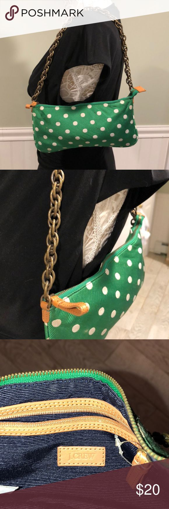 I️. Crew Little Green Polka Dot Shoulder Bag Green fabric with embossed stripe and white polka dots with a heavy brass tone chain handle J Crew Bags Mini Bags