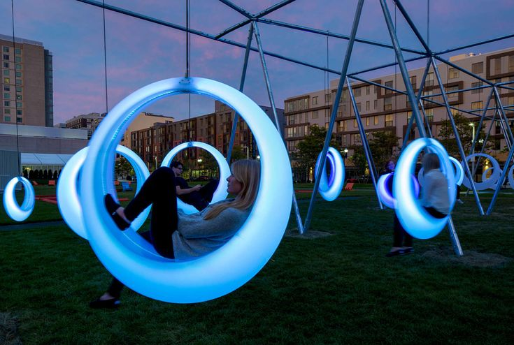 SWING TIME - Interactive Installation activates a temporary park between Boston Convention and Exhibition Center and D street to create an experimental public space.