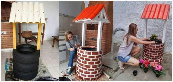 How cute is this?  A wishing well out of recycled tires.  Love it