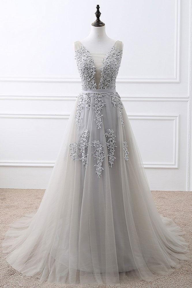 ea316b08e6b672 Gray v neck lace tulle long prom dress, gray tulle bridesmaid dress ...
