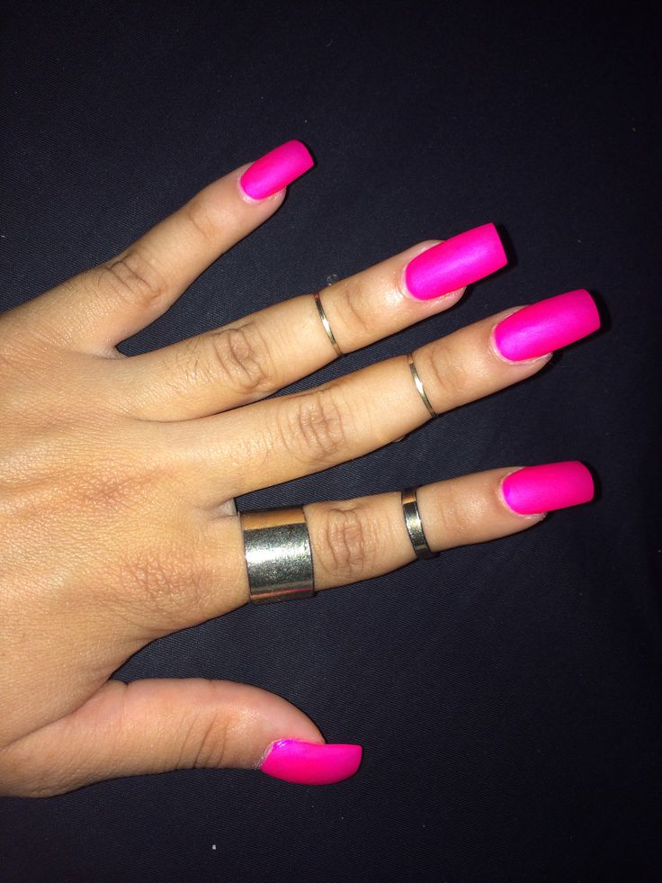 Square acrylic nails. Bright pink summer color with matte