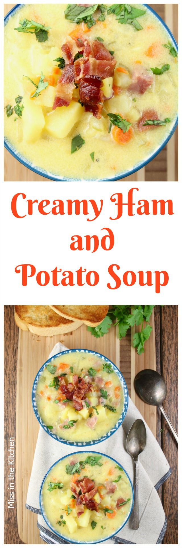 Creamy. Ham and Potato Soup Recipe perfect for leftover ham and makes a hearty and delicious dinner! Made with DairyPure milk. From MissintheKitchen.com #ad