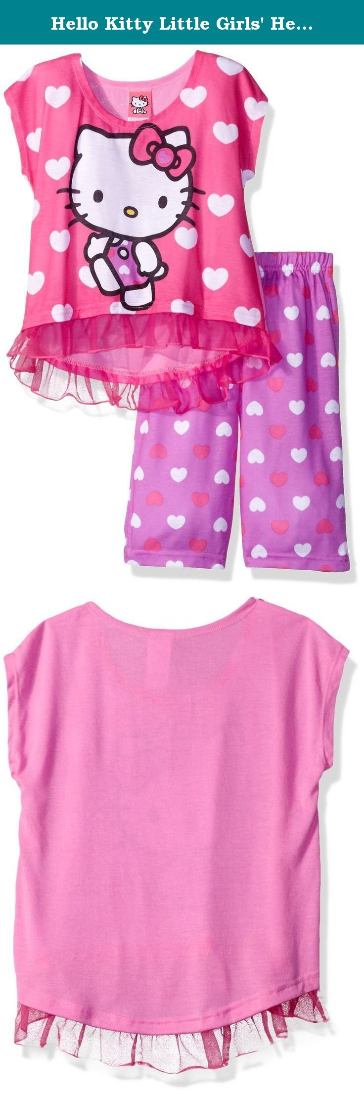 Hello Kitty Little Girls' Hearts 2Pc Pajama Pant Set, Assorted, 6. Hello Kitty is sure to steal your daughter's heart with this sleepwear set! the bright colors and fun ruffle hem are sure to make this pajama set a hit! perfect for sleeping and lounging.