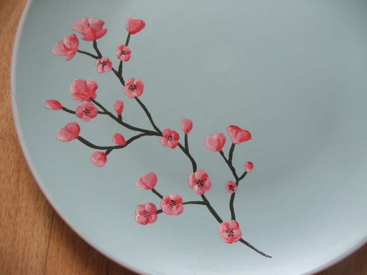 Paint cherry blossom ceramic painting cherry blossom for Ceramic mural tutorials