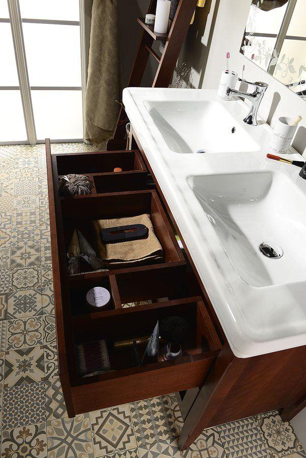 CROSS umyvadlová skříňka 116x77,5x49,5cm, 2x zásuvka, mahagon, SAPHO E-shop