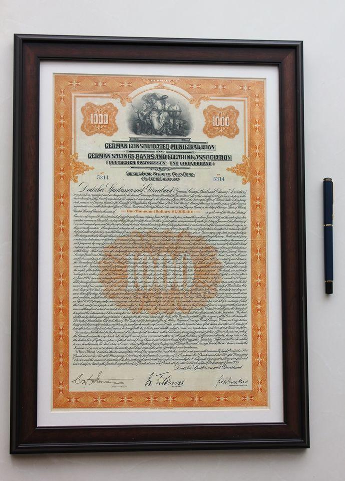 Rare! German Savings Bank (SBCA) 1928 Gold bond / $1000 Dollar loan -- framed