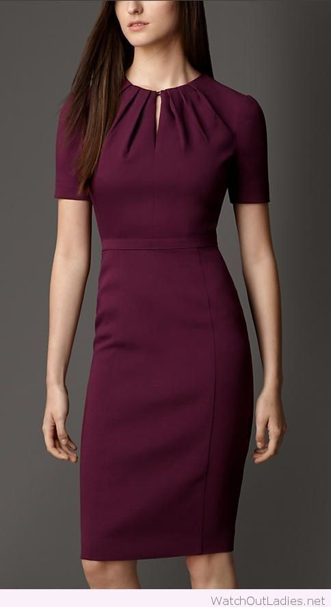Office looks for fall with Burgundy dress -