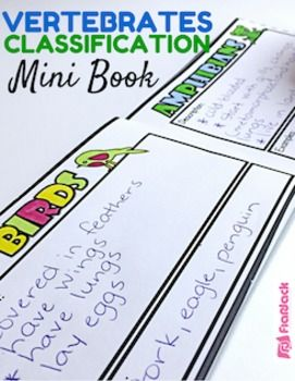 Use this cute, little mini-book to describe and give examples of each of the five main classes of vertebrates. With this 8-page mini-book, students have a hands-on printable to to use as an information organizer on the five main classes of vertebrates or