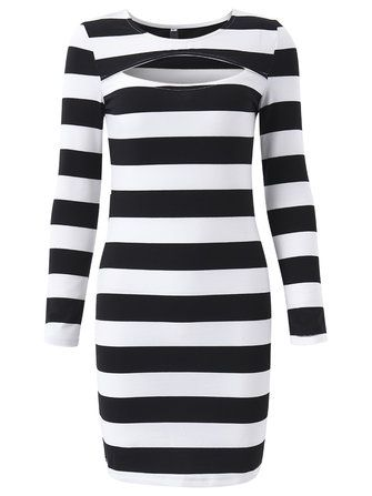 Women Hollow Stripe Long Sleeve Slim Sexy Dress at Banggood