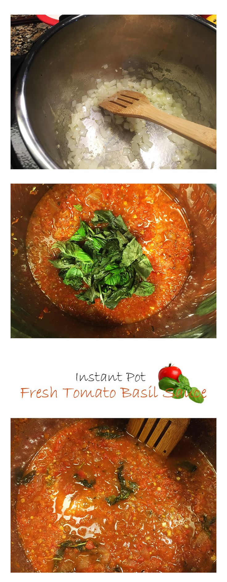 Instant Pot Fresh Tomato Basil Sauce.  So quick and easy to prepare. 1 SmartPoint.