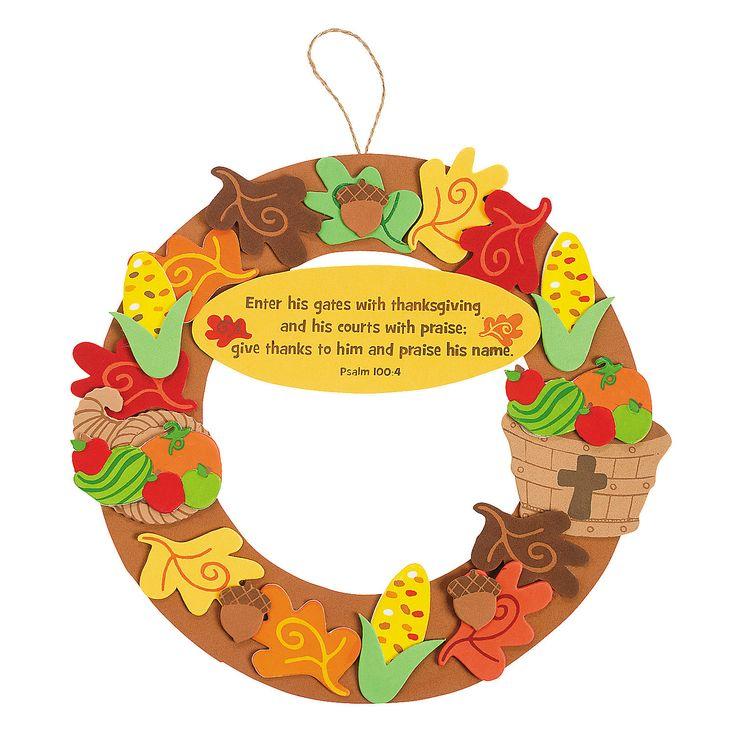 Inspirational Thanksgiving Wreath Craft Kit - OrientalTrading.com