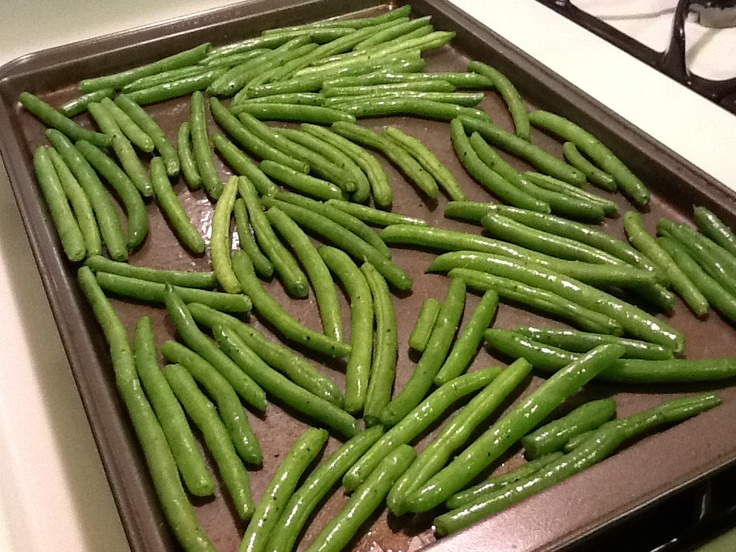 Roasted Green Beans: coat in olive oil, add a little salt and pepper, roast at 425 for 15 minutes stirring once half way through. Enjoy!