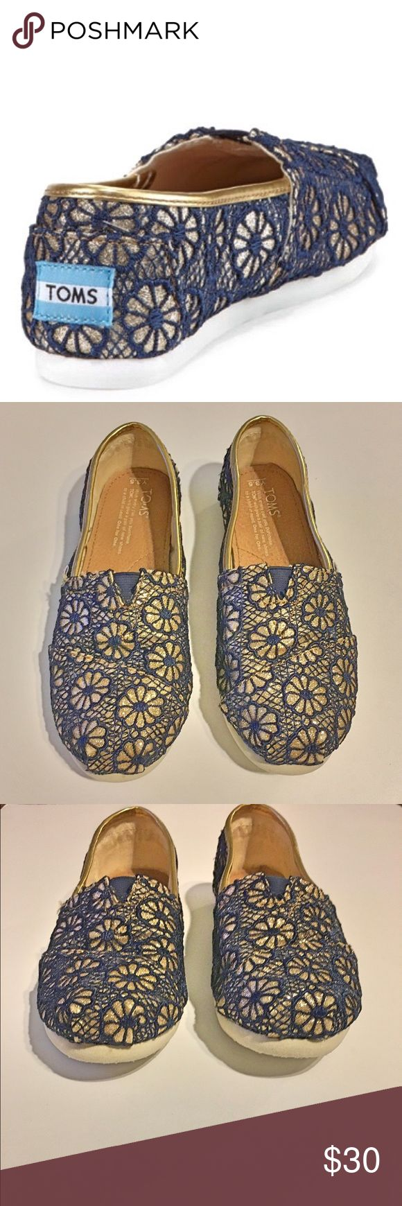 TOMS Glitter Gold & Navy Blue Floral Crochet Shoes TOMS Glitter Gold & Navy Blue Floral Crochet Shoes ~ Size Y 3.5 ~ First photo is a stock photo not actual shoe. TOMS Shoes