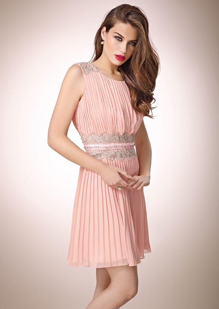 Zeila gala 9266 vestido de fiesta corto en chiff n plisado - Detalles de fiesta ...